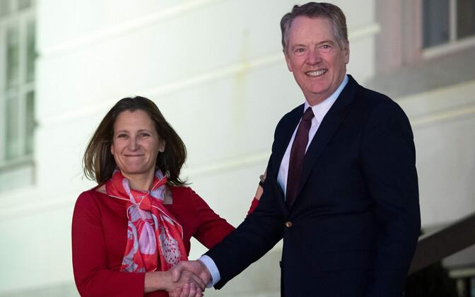 Kanada asepeaminister Chrystia Freeland ja USA kaubandusesindaja Robert Lighthizer.