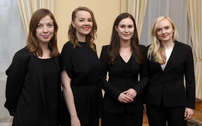 Председатели четырех правящих партий Финляндии (слева направо): Ли Андерссон (Союз левых), Катри Кулмуни (Центр Финляндии), Санна Марин (СДП) и Мария Охисало (Партия зеленых). На фото нет председателя Шведской народной партии Анны-Маи Хенрикссон.