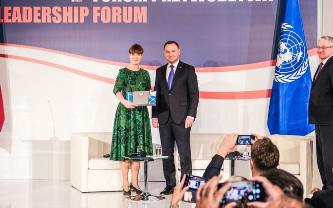 President Kersti Kaljulaid and Polish President Andrzej Duda.