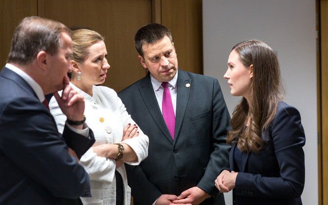 Jüri Ratas (second from right) with new Finnish prime minister Sanna Marin (right) at a European Commission meeting in Brussels last week.