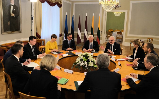 Kersti Kaljulaid at Tuesday's meeting in Riga with her Latvian and Lithuanian counterparts.