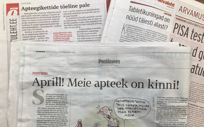 Editorials in three daily newspapers on Thursday, all addressing the snap 'strike' called by major pharmacy chains in Estonia Wednesday afternoon.