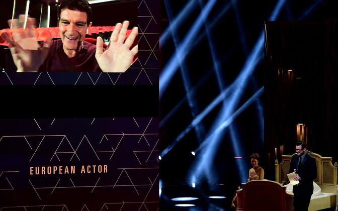 Antonio Banderas Euroopa 32. Euroopa filmiauhindadel parima Euroopa näitleja auhinda vastu võtmas.