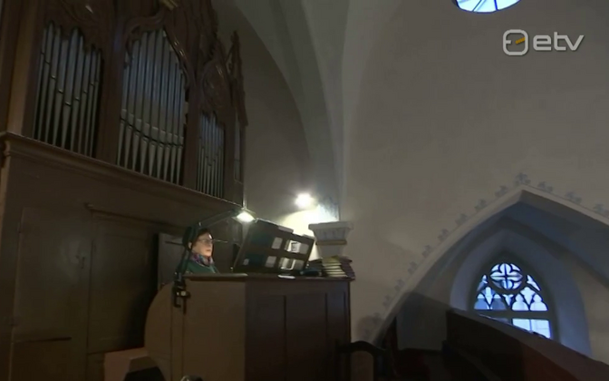 Mari Järvi playing organ at Sts. Peter and Paul Cathedral in Tallinn.