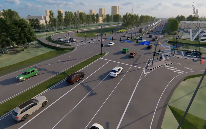 Artist's impression of the current Väo intersection in Lasnamäe. The reconstructed version will see flyovers.