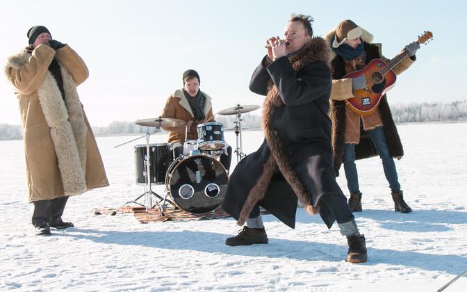 Svjata Vatra muusikavideo filmimine Viljandi järve jääl 2017. aastal.