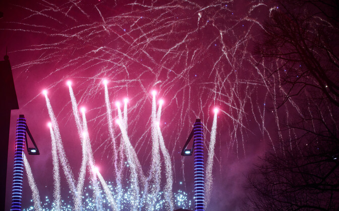 New Year's fireworks at Vabaduse väljak in Tallinn. January 1, 2019.