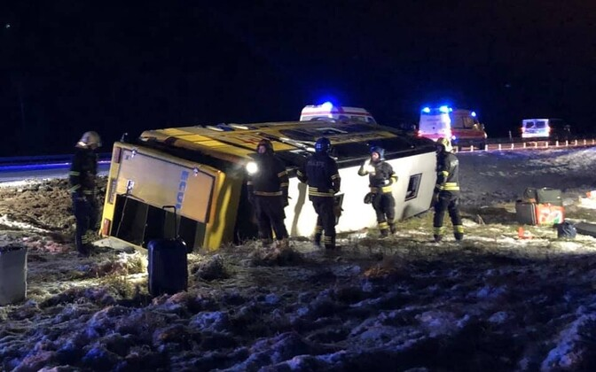 The Ecolines bus left the road and rolled on to its side early on Sunday morning.