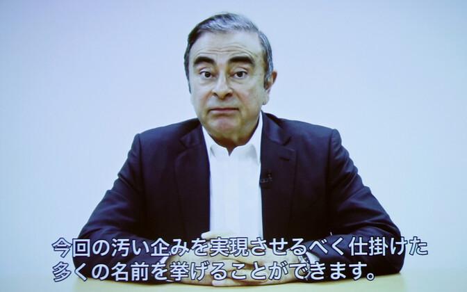 Carlos Ghosn videosilla vahendusel avaldust tegemas.