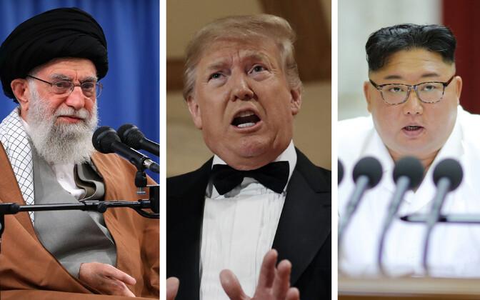 Ajatolla Khameini, president Trump ja Kim Jong-un.