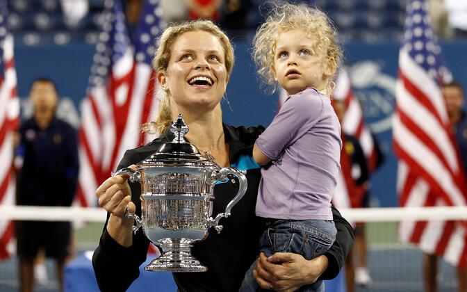 Kim Clijsters tütrega pärast US Openi võitmist 2010. aastal