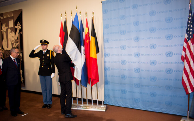 Estonian flag raised at UN Security Council.