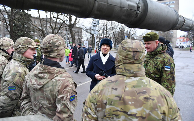 President Kersti Kaljulaid attended a ceremony in Narva on Friday marking the 100th anniversary of the War of Independence ceasefire. January 3, 2020.