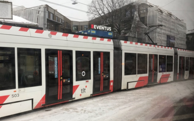 Tram in Tallinn in winter. Photo is illustrative.