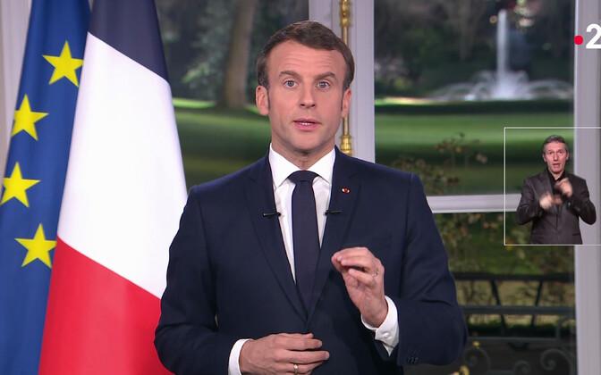 President Emmanuel Macron aastavahetuse telepöördumises.