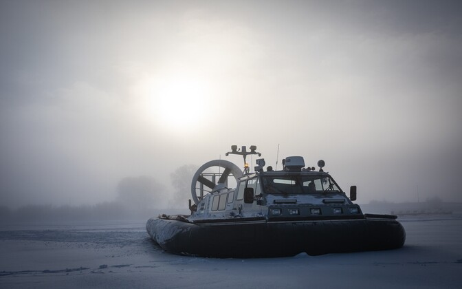 PPA hovercraft on the frozen Lake Peipus in Mustvee.
