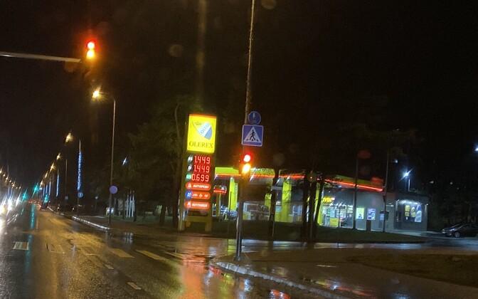Autokütuste hinnad Tallinnas Olerexi tanklas 8. jaanuaril.
