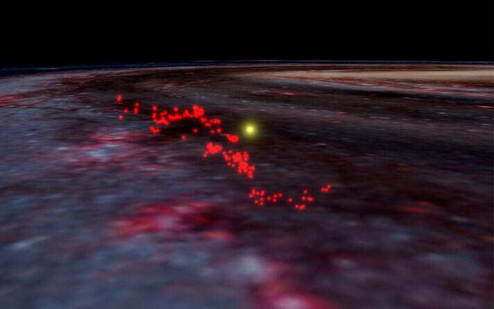 Suur gaasipilv, mille sees tekib rohkesti uusi tähti, on 9000 valgusaastat pikk ja 400 valgusaastat lai.