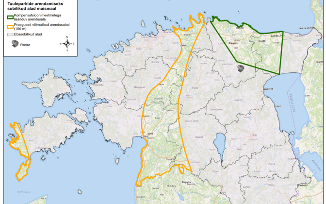 Suitable areas for wind farm development according to the Ministry of Defence.