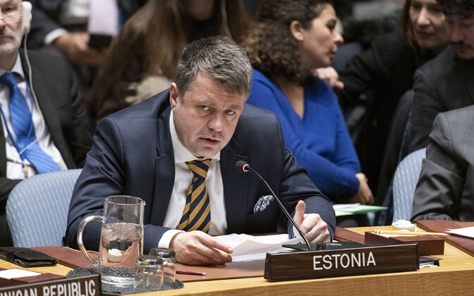 Urmas Reinsalu at the UN Security Council in New York Thursday.