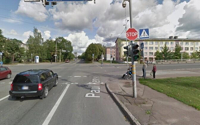Перекресток улиц Кренгольмской И Кереса в Нарве.