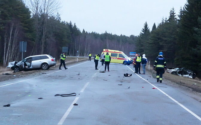 Aftermath of the fatal accident on Saaremaa. January 11, 2020.
