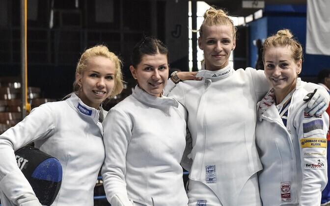 Estonian women's epee team in Havana, Cuba. From left Erika Kirpu, Julia Beljajeva, Katrina Lehis and Kristina Kuusk.