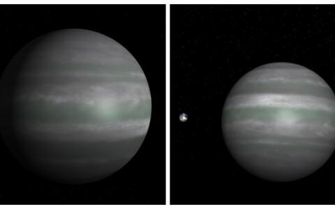 Kuvatõmmised NASA animatsioonilt. Vasakul illustratsioon eksoplaneedist XO-4 b, mis nüüdsest kannab nime Hämarik. Paremal sama eksoplaneet võrdluses Maaga.