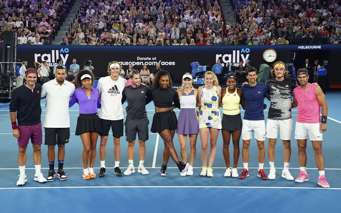 Roger Federer (vasakult), Nick Kyrgios, Naomi Osaka, Alexander Zverev, Dominic Thiem, Serena Williams, Caroline Wozniacki, Petra Kvitova, Coco Gauff, Novak Djokovic, Stefanos Tsitsipas ja Rafael Nadal.