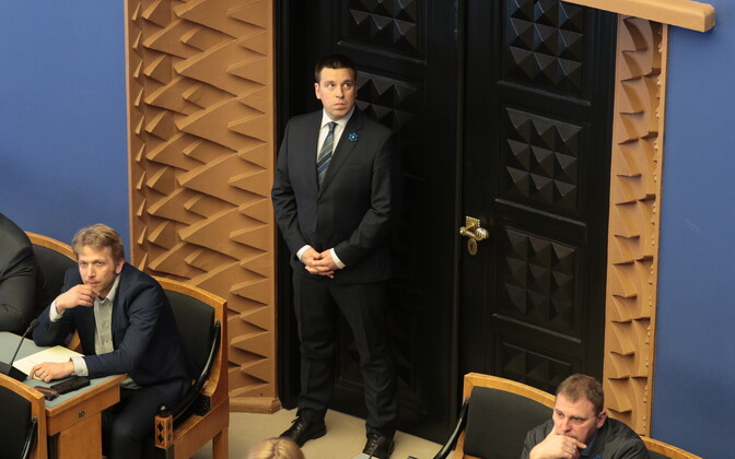 Prime Minister Jüri Ratas (Centre) in the Riigikogu.