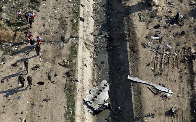 Lennukatastroofi sündmuskoht Teherani lähistel.