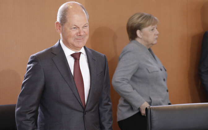 Sotsiaaldemokraadist rahandusminister Olaf Scholz ja liidukantsler Angela Merkel.