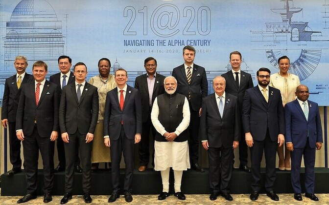Foreign minister Urmas Reinsalu (back row, third from right) at the Raisina Dialogue conference in New Delhi, India. Indian premier Narendra Modi is front, center.