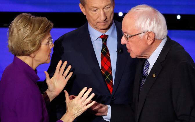Warren ja Sanders debati järel vaidlemas.