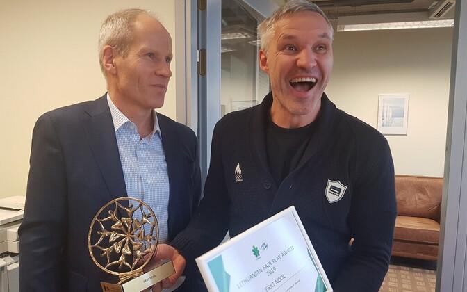 Erki Nool sai tunnustusest teada Eesti Olümpiakomitee kontoris, kui oli tulnud EOK tippspordikomisjoni koosolekule.