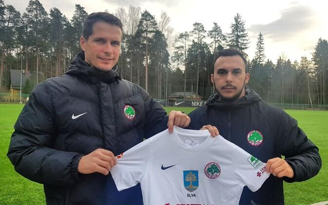 FC Elva tegevjuht Marek Naaris ja uus spordidirektor Stefan Ristic