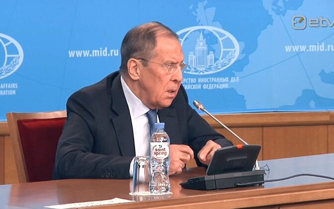 Sergei Lavrov speaking at Friday's press conference in Moscow.