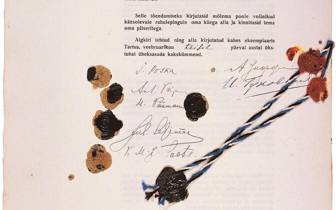 Подписи под Тартуским мирным договором 1920 года.