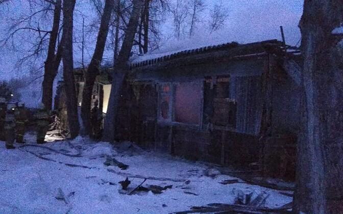 Põlenud hoone Tomski oblastis.