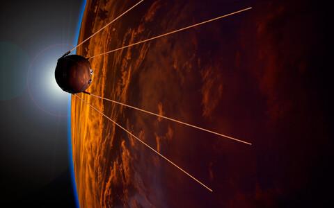 Maailma esimene tehiskaaslane Sputnik 1 kunstniku nägemuses.