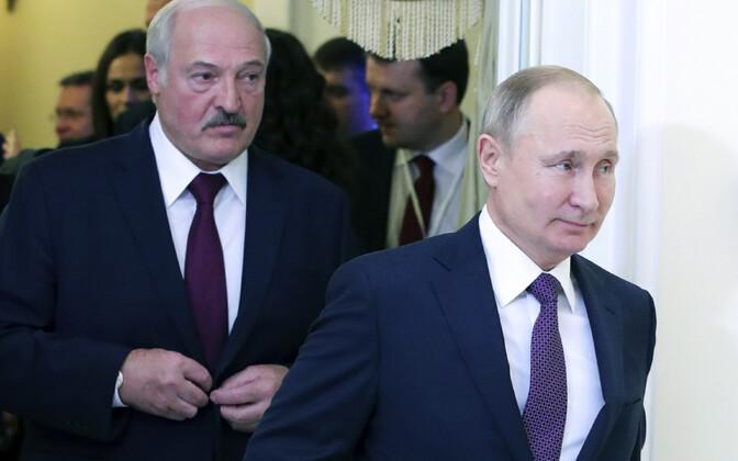 Valgevene president Aleksandr Lukašenko ja Venemaa president Vladimir Putin 2019. aasta detsembris.