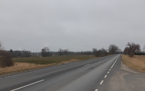 Visualization of proposed wind farm as seen from Valga-Uulu Highway heading toward Kilingi-Nõmme.