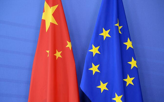 Hiina Rahvavabariigi ja Euroopa Liidu lipp.