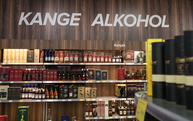 Alcohol on sale in a supermarket.