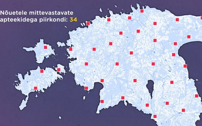 Locations across Estonia which don't currently have a pharmacy which complies with the new law coming into effect April 1.