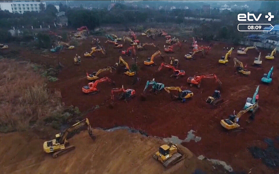 Строительство больниц в городе Ухань.