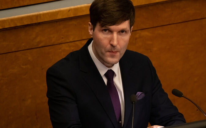 Finance minister Martin Helme during the pensions reform debate at the Riigikogu.
