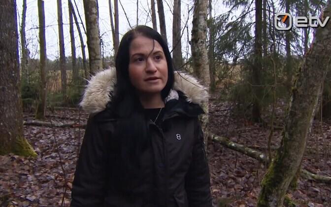 Грит Кюльв в лесу, где она пыталась покончить с собой.