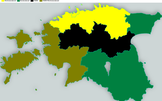 Party support by region (green Center, yellow Reform, black EKRE, brownish color a combination of Center and EKRE).