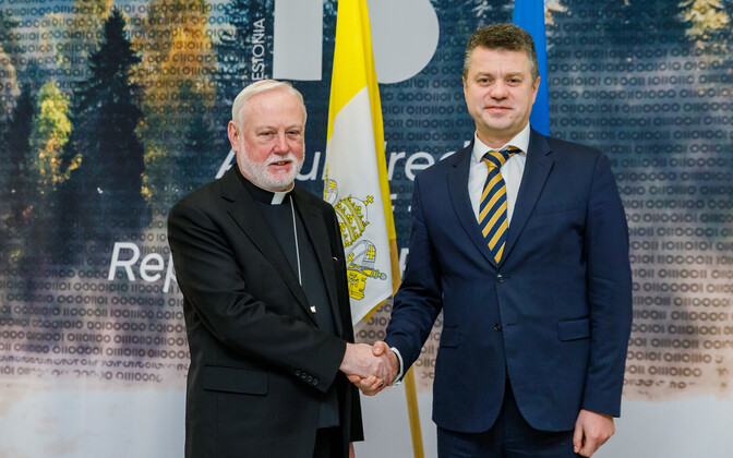 Archbishop Paul Richard Gallagher and foreign minister Urmas Reinsalu.